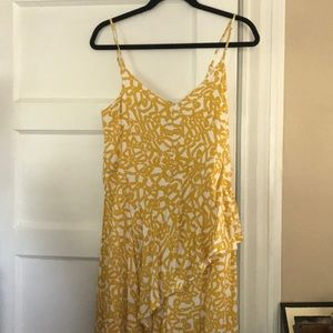 Yellow Printed Anthro Jumpsuit